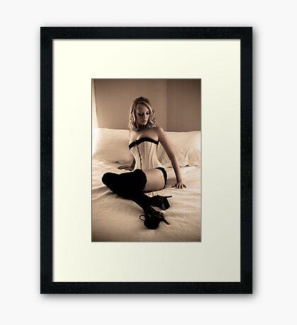 Katie Devine - Corset at Morn Framed Print