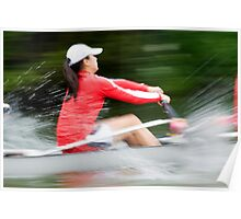 Blurred action of a woman rower Poster