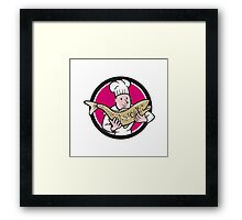Chef Cook Holding Trout Fish Circle Cartoon Framed Print