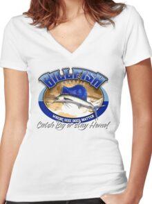 BILLFISH Women's Fitted V-Neck T-Shirt