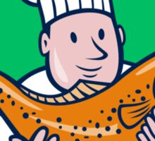 Chef Cook Holding Trout Fish Shield Cartoon Sticker