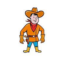 Cowboy Standing Drawing Gun Cartoon Photographic Print