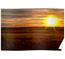 Prairie Sunset (Painted) Poster