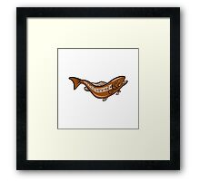 Brown Spotted Trout Jumping Cartoon Framed Print