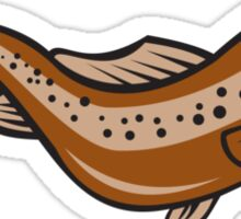 Brown Spotted Trout Jumping Cartoon Sticker