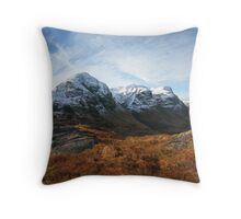 Snow capped Three Sisters in Glencoe. Throw Pillow