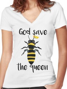 God Save the Queen Bees Women's Fitted V-Neck T-Shirt