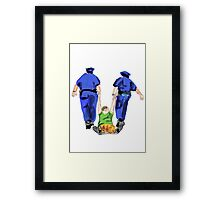 police arresting people Framed Print