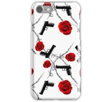 Roses Barbed Wire Guns Pattern Love Is War iPhone Case/Skin