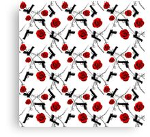 Roses Barbed Wire Guns Pattern Love Is War Canvas Print