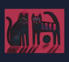 Black cats on red Kids Clothes
