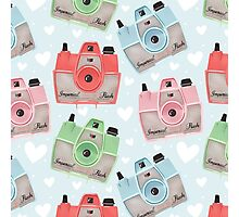 Vintage Camera Pattern - Blue Photographic Print