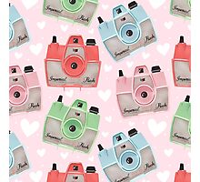 Vintage Camera Pattern - Pink Photographic Print