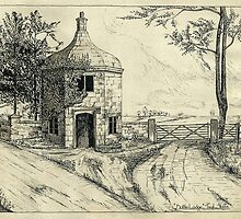Bottle Lodge, Tixall, Staffordshire, UK. (Pen Sketch 1932) by wippapics