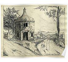 Bottle Lodge, Tixall, Staffordshire, UK. (Pen Sketch 1932) Poster