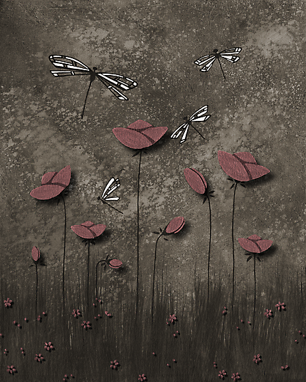 Tulips and Dragonflies - Fine Art by soniei