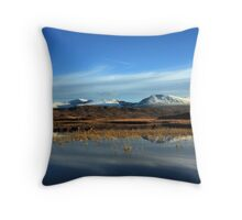 First snow of winter on Rannoch Moor. Throw Pillow