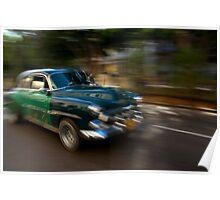 Panning shot, classic American car, Havana, Cuba Poster
