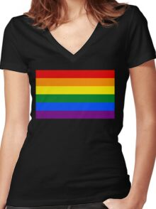 Rainbow flag Gay Homosexual Lesbian Women's Fitted V-Neck T-Shirt