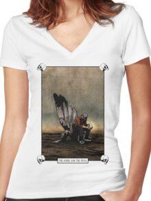 The Angel And The Skull V2 Women's Fitted V-Neck T-Shirt