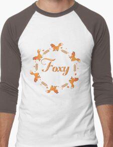 Cute Foxy Fox Wreath Men's Baseball ¾ T-Shirt
