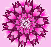 pink hearts mandala by resonanteye
