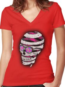 Psychedelic Skull  Women's Fitted V-Neck T-Shirt