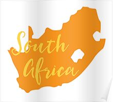 South Africa map in orange fancy Poster