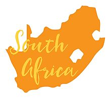 South Africa map in orange fancy Photographic Print