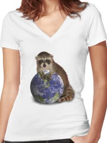 Earth Day Raccoon Women's Fitted V-Neck T-Shirt
