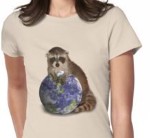 Earth Day Raccoon Womens Fitted T-Shirt
