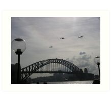 Black Hawk Helicopters, Sydney Harbour Bridge Art Print