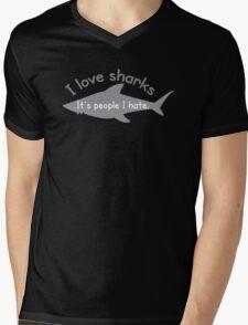 I love sharks- it's people I hate Mens V-Neck T-Shirt
