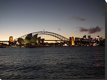 Sydney's Opera House & Harbour Bridge lit up at Dusk by Bernie Stronner