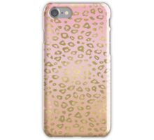 Pink Ombre Gold Leopard Print iPhone Case/Skin