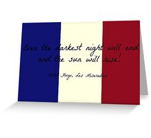 Les Miserables Quote on French Flag Greeting Card