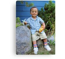 Boy and Favorite Toys Canvas Print