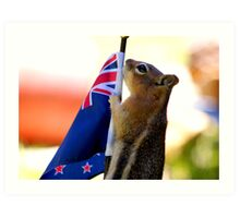 JASPER WITH THE FLAG OF NEW ZEALAND #2 Art Print