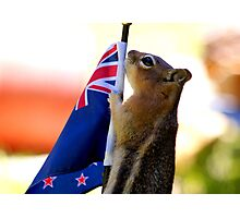 JASPER WITH THE FLAG OF NEW ZEALAND #2 Photographic Print