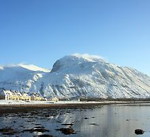 Caol,Loch Linnhe & Ben Nevis in Winter. by John Cameron