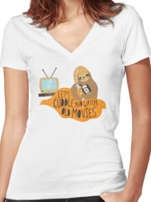 Let's Cuddle and Watch Old Movies Women's Fitted V-Neck T-Shirt
