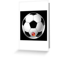 Ladybug on Telstar football ball Greeting Card