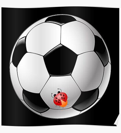 Ladybug on Telstar football ball Poster