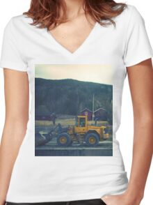 yellow tractor Women's Fitted V-Neck T-Shirt