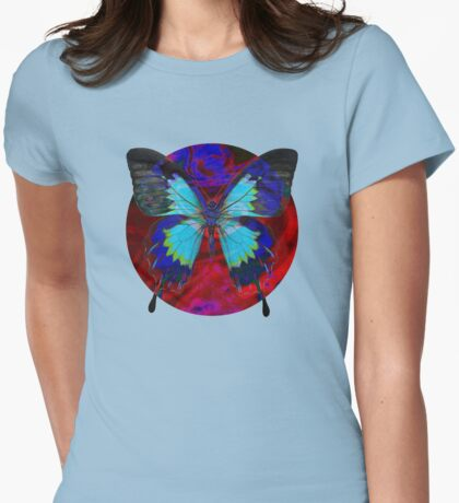 Psychedelia Illusions Take the Form of Butterflies Womens Fitted T-Shirt