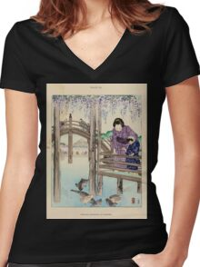 The flowers of Japan and the art of floral arrangement Josiah Conder 1892 0045 Wisteria Blossoms at Kameido Women's Fitted V-Neck T-Shirt