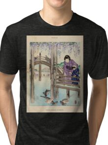 The flowers of Japan and the art of floral arrangement Josiah Conder 1892 0045 Wisteria Blossoms at Kameido Tri-blend T-Shirt