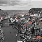 Staithes  , black & white with added colour by robwhitehead