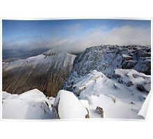 First snow of winter in October on the Summit of Ben Nevis. Poster