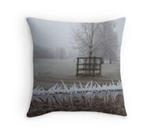 frosty fence Throw Pillow